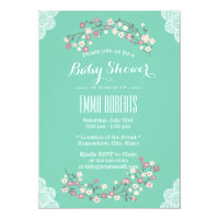 Spring Green Floral & Lace Baby Shower Invitations