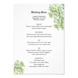Spring Green Floral Wedding Menu Template Customized Invitation Cards