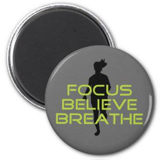 Spring Green Focus Believe Breathe Fridge Magnet