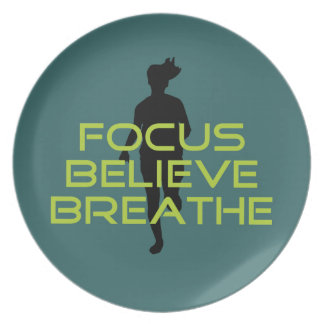 Spring Green Focus Believe Breathe Melamine Plate