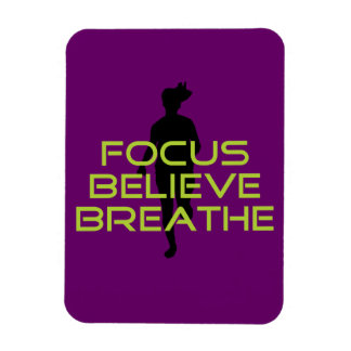 Spring Green Focus Believe Breathe Rectangle Magnets