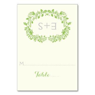 Spring green foliage frame wedding place card
