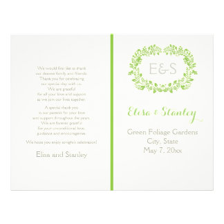 Spring green foliage frame wedding program
