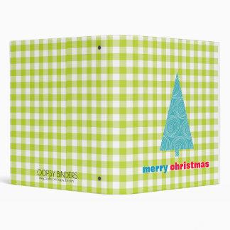 Spring Green Gingham Merry Christmas Vinyl Binders