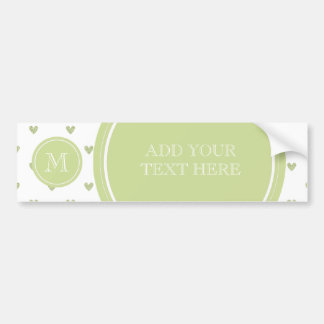 Spring Green Glitter Hearts with Monogram Bumper Sticker