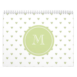 Spring Green Glitter Hearts with Monogram Calendar