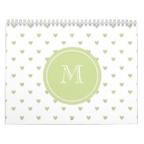 Spring Green Glitter Hearts with Monogram Calendar