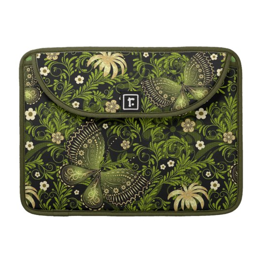 Spring Green-gold Pattern Sleeve For MacBook Pro