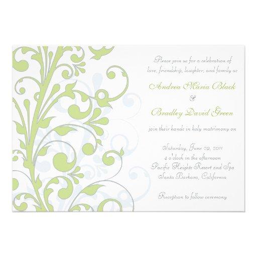 Spring Green, Grey, & White Wedding Invitation