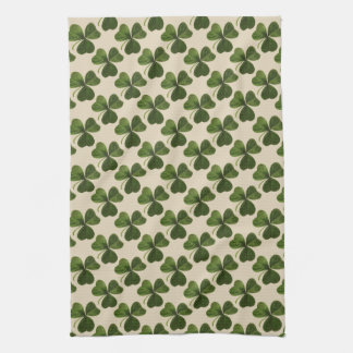 Spring Green Irish Shamrock Pattern Hand Towel