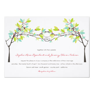 Spring Green Knotted Love Trees Wedding Invitation