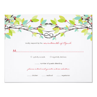 Spring Green Knotted Love Trees Wedding RSVP Card