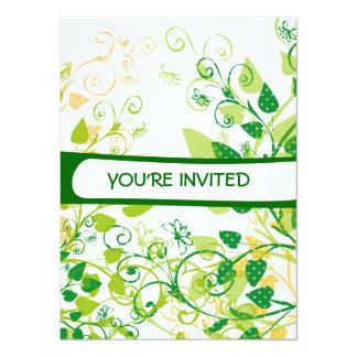 "Spring Green Leaves invitation 5.5"" X 7.5"" Invitation Card"