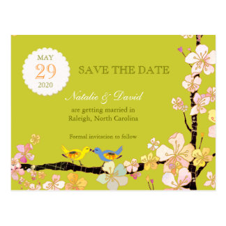 Spring Green Love Birds Save the Date Postcards