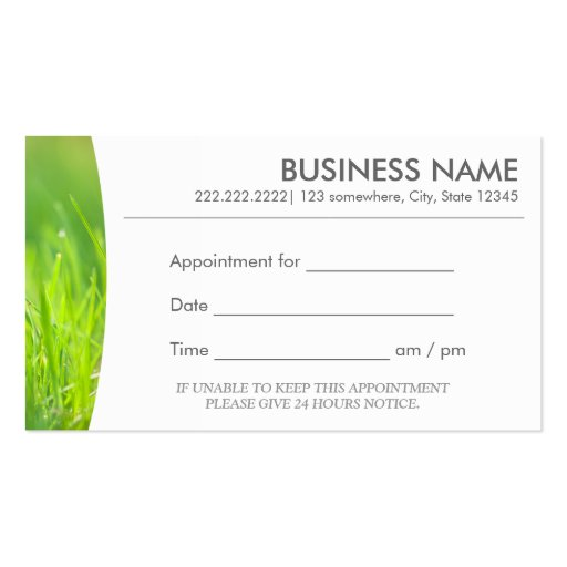 spring green message spa appointment business card