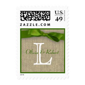 Spring Green Monogram Ribbon and Burlap Love Stamp