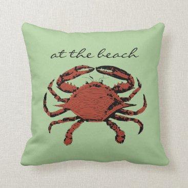 Beach Themed Spring Green Nautical Crab Fun Beach Throw Pillow