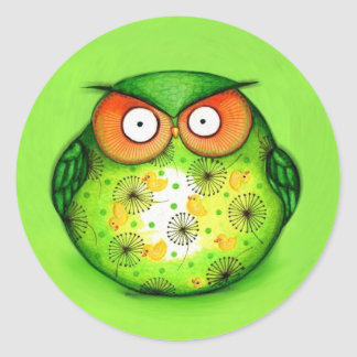 Spring Green Owl Classic Round Sticker