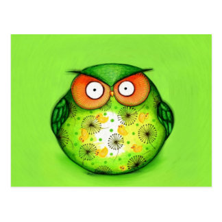 Spring Green Owl Post Card
