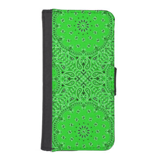 Spring Green Paisley Bandana Phone Wallet Cases