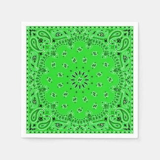 Spring Green Paisley Bandana Scarf BBQ Picnic Paper Napkin