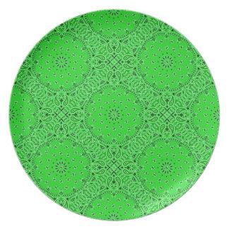Spring Green Paisley Western Bandana Scarf Fabric Plate