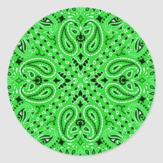 Spring Green Paisley Western Bandana Scarf Print Classic Round Sticker