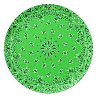 Spring Green Paisley Western Bandana Scarf Print Melamine Plate