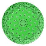 Spring Green Paisley Western Bandana Scarf Print Party Plates