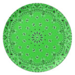 Spring Green Paisley Western Bandana Scarf Print Party Plates