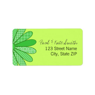 Spring Green Plaid Flower Personalized Address Labels