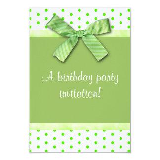 Spring Green Polka Dot Birthday Party Invitation
