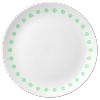 Spring Green Polka Dots on White Porcelain Plate