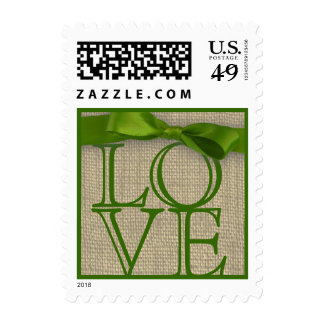 Spring Green Ribbon and Burlap Love Postage Stamp