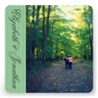 Spring Green Ribbon Wedding Announcements