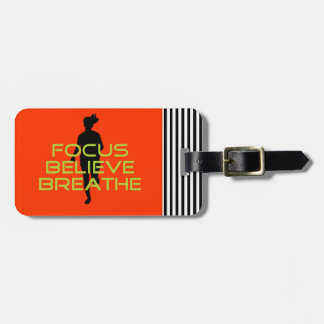 Spring Green Running Sports Focus Believe Breathe Bag Tag