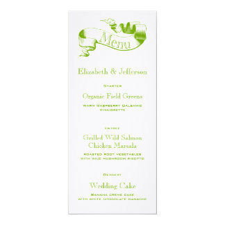 Spring Green Scroll Wedding Menu Card