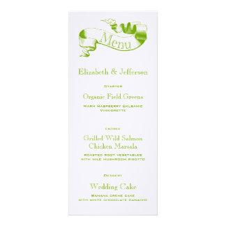 Spring Green Scroll Wedding Menu Card Personalized Invitation