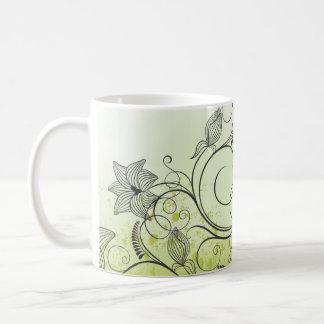 Spring Green & Scrolling Flowers Coffee Mug