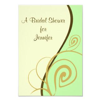 "Spring Green Swirl Bridal Shower Invitation 3.5"" X 5"" Invitation Card"