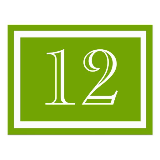 Spring Green Table Number Cards Postcards
