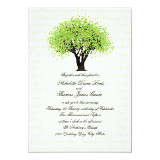 Spring Green Tree Dancing Blooms Wedding 5x7 Paper Invitation Card