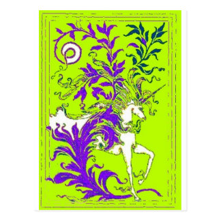 Spring Green Unicorn Wood Vine Gifts by sharles Postcard