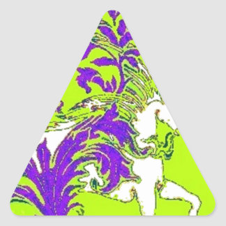 Spring Green Unicorn Wood Vine Gifts by sharles Triangle Sticker