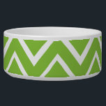 """Spring green whimsical zigzag chevron pattern bowl<br><div class=""""desc"""">Chic and trendy design featuring whimsical zig zag or chevron pattern in white and spring green. Available in other colors. Elegant and stylish for trendy girls and women. For custom requests or help with customizing please use the store contact link above. Custom colors are available on request.</div>"""