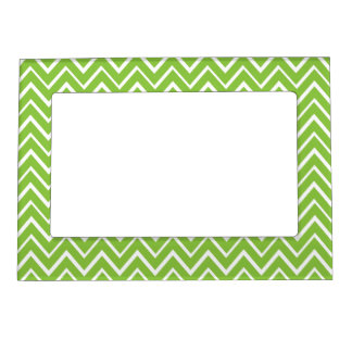 Spring green whimsical zigzag chevron pattern magnetic frames