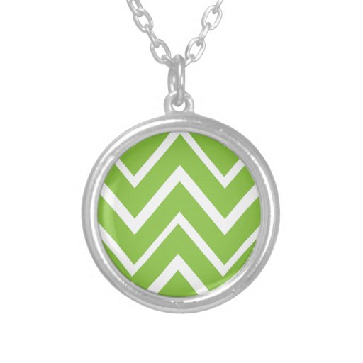Spring green whimsical zigzag chevron pattern round pendant necklace