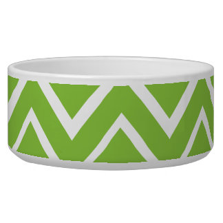 Spring green whimsical zigzag chevron pattern pet water bowl