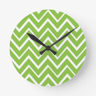 Spring green whimsical zigzag chevron pattern round clock