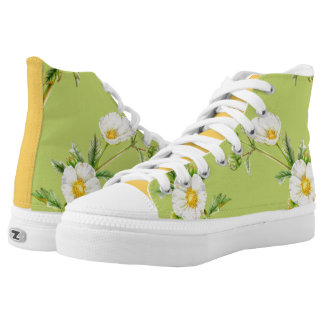 Spring green white and gold rock rose art shoe